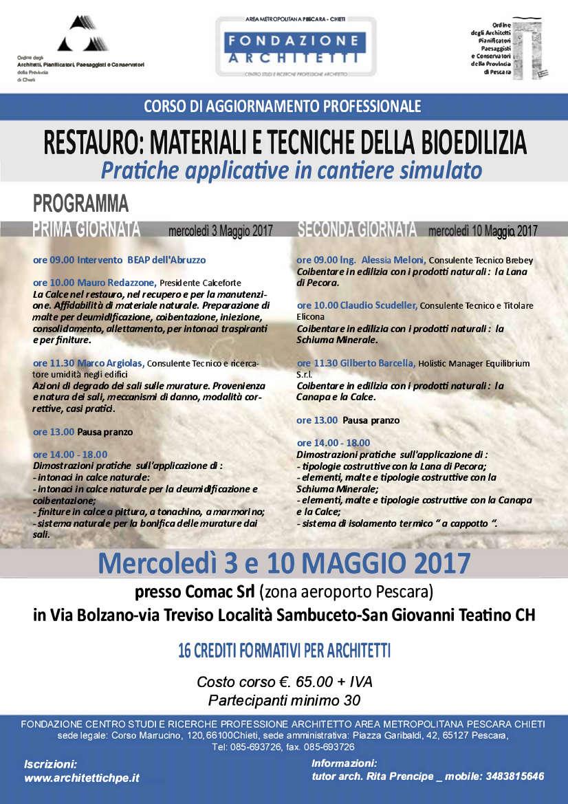 Brebey al Corso di aggiornamento sul Restauro: Materiali e tecniche della bioedilizia.